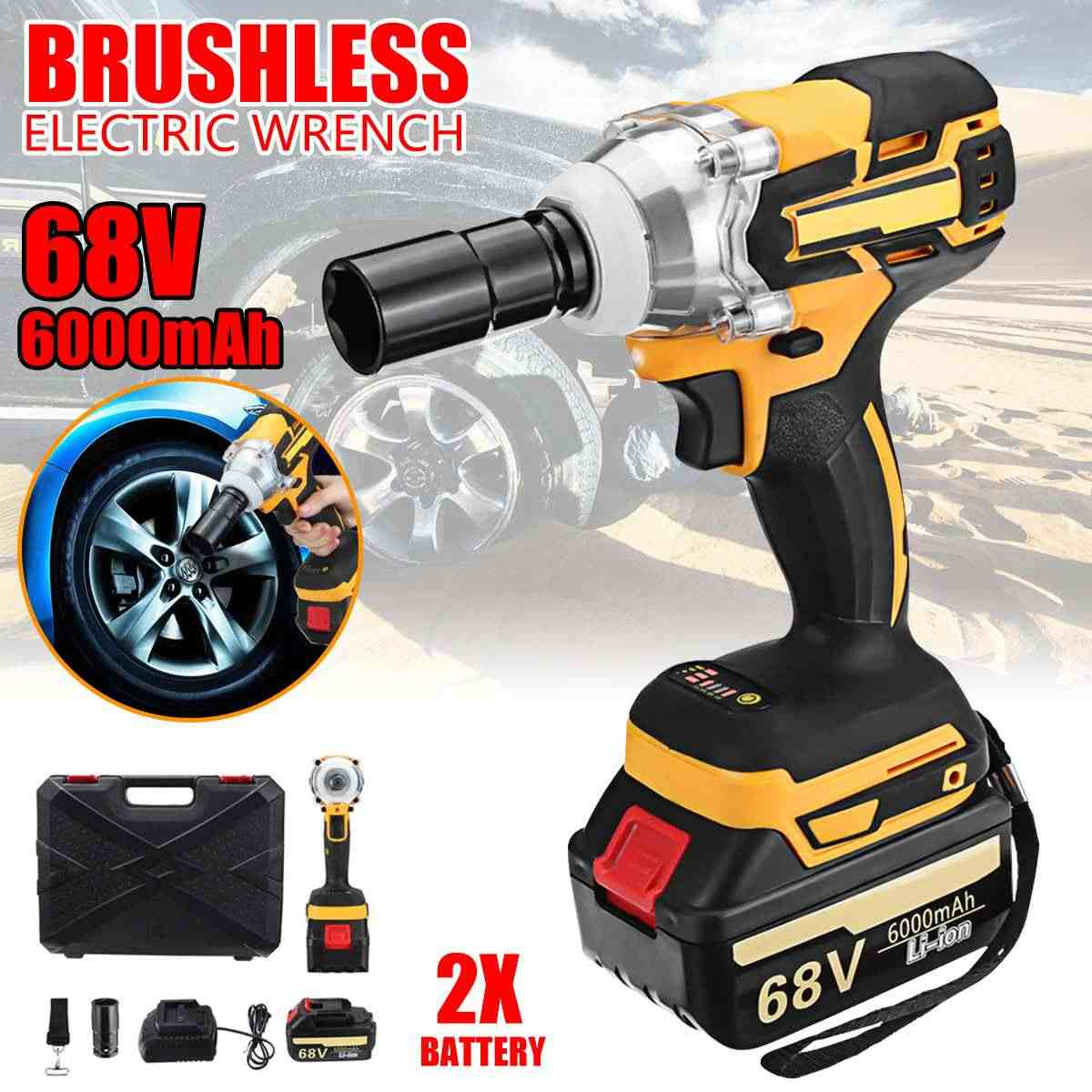 68V 6000mAh Electric Wrench 2 Batteries Brushless Cordless Drive 380 N.M Hand Drill Household Car Socket Electric Impact Wrench