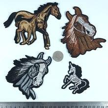 Pgy 1 pçs cavalo selvagem animal bordado ferro em remendos para vestuário applique diy chapéu casaco vestido acessórios pano adesivo