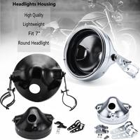 7inch Universal Motorcycle Round LED Headlight Head Lamp Housing Bucket W/Bracket