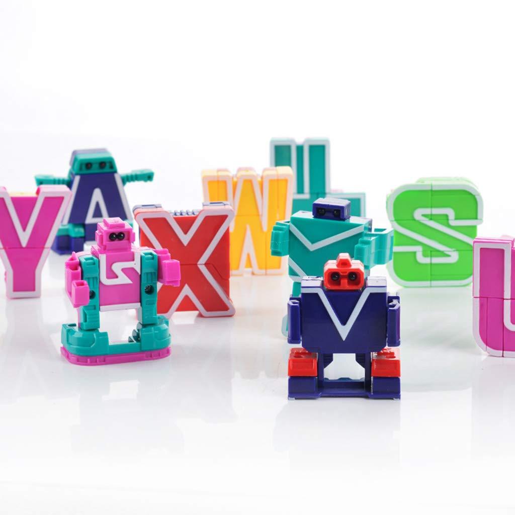 26pcs English Letter Transformer Robot Hand eye Coordination Imagination Creativity Development Educational Toys for Children|  - title=