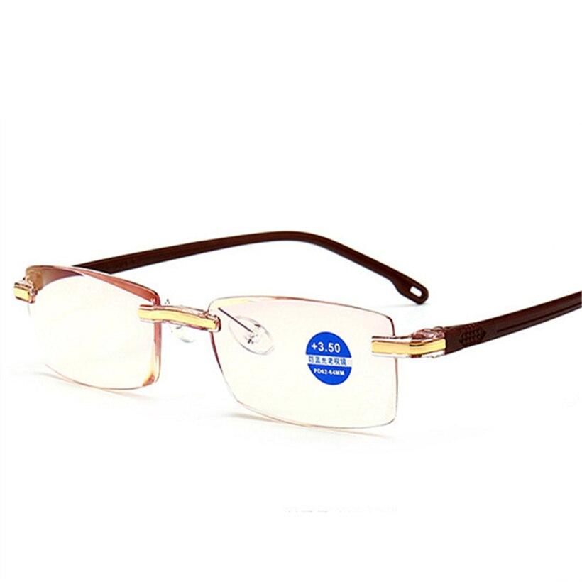 XojoX Anti Luz Azul Mulheres Óculos de Leitura Sem Aro Óculos Moda  Masculina Óculos Hipermetropia Presbiopia Dioptria + 1.0 1.5 2.0 2.5 31ff58cbda