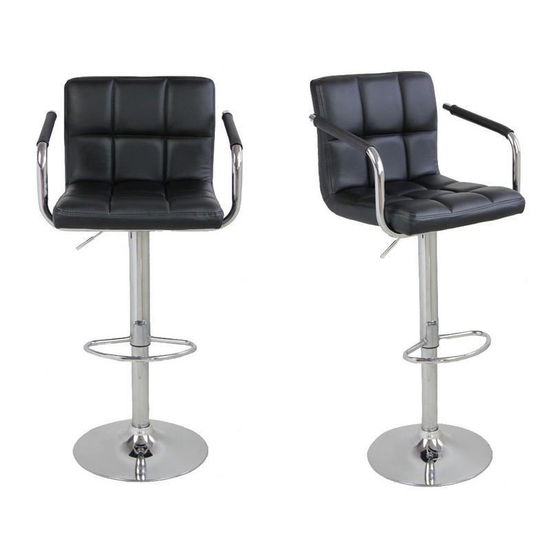 2pcs SSJ-891 60-80cm 6 Checks Round Cushion Bar Stools with Armrest Black2pcs SSJ-891 60-80cm 6 Checks Round Cushion Bar Stools with Armrest Black