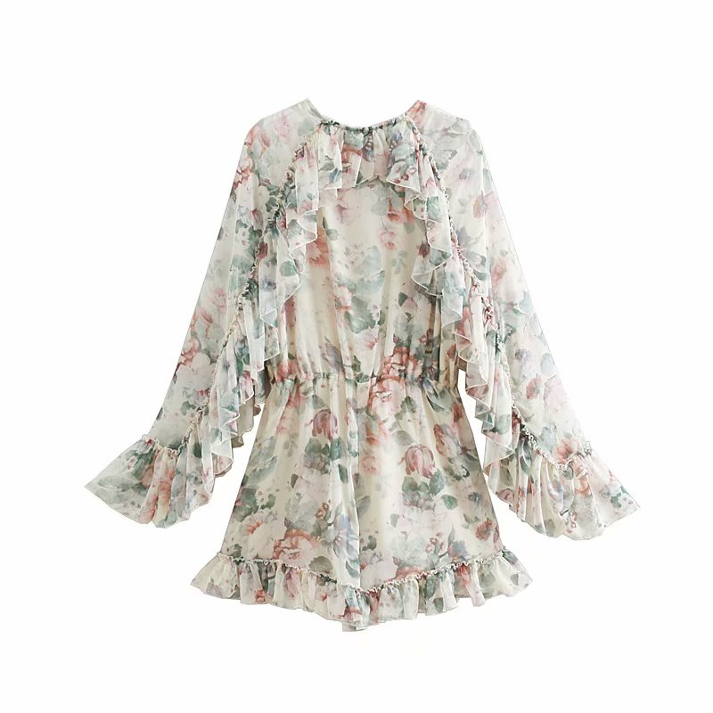 Fashion Women Floral Print Chiffon Rompers Ruffles Long Sleeveless Jumpsuit Short Bohemian Vintage Party Playsuits
