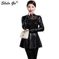 Elegant Leather Blouses Women Spring Floral Lace Spliced Sheepskin Genuine Leather Shirts A Line Back Zipper Female Top Shirts