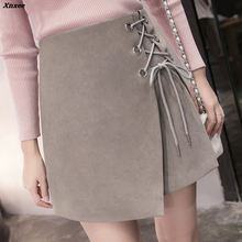 Vintage High Waist External Tight Suede Lace Up A-line Short Skirt Women's Spring Autumn Pencil Skirt Preppy Mini Skirt Xnxee yellow suede studded mini skirt