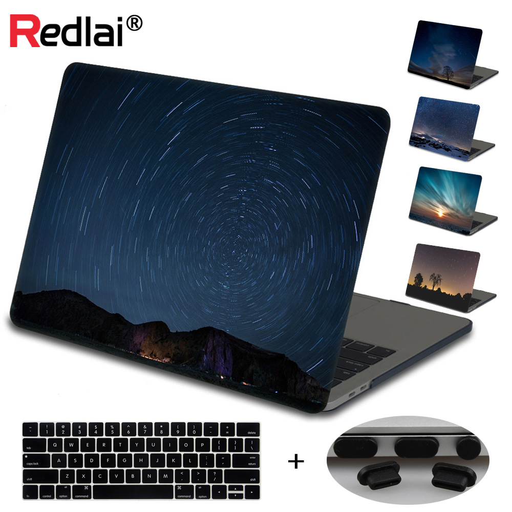 Redlai Laptop Case For Apple Macbook Air Pro Retina 13 15 inch Sleeve Starry Sky Print Hard Cover For Mac Pro 13 15 Touch bar round neck long sleeve 3d fierce bear starry sky print sweatshirt