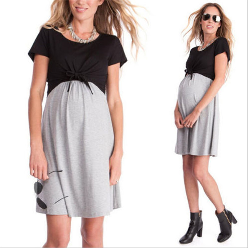 2018 New Brand Summer Women Pregnant Clothes Maternity Cotton Short Sleeve Dress Breastfeeding Nursing Dress S-XXL