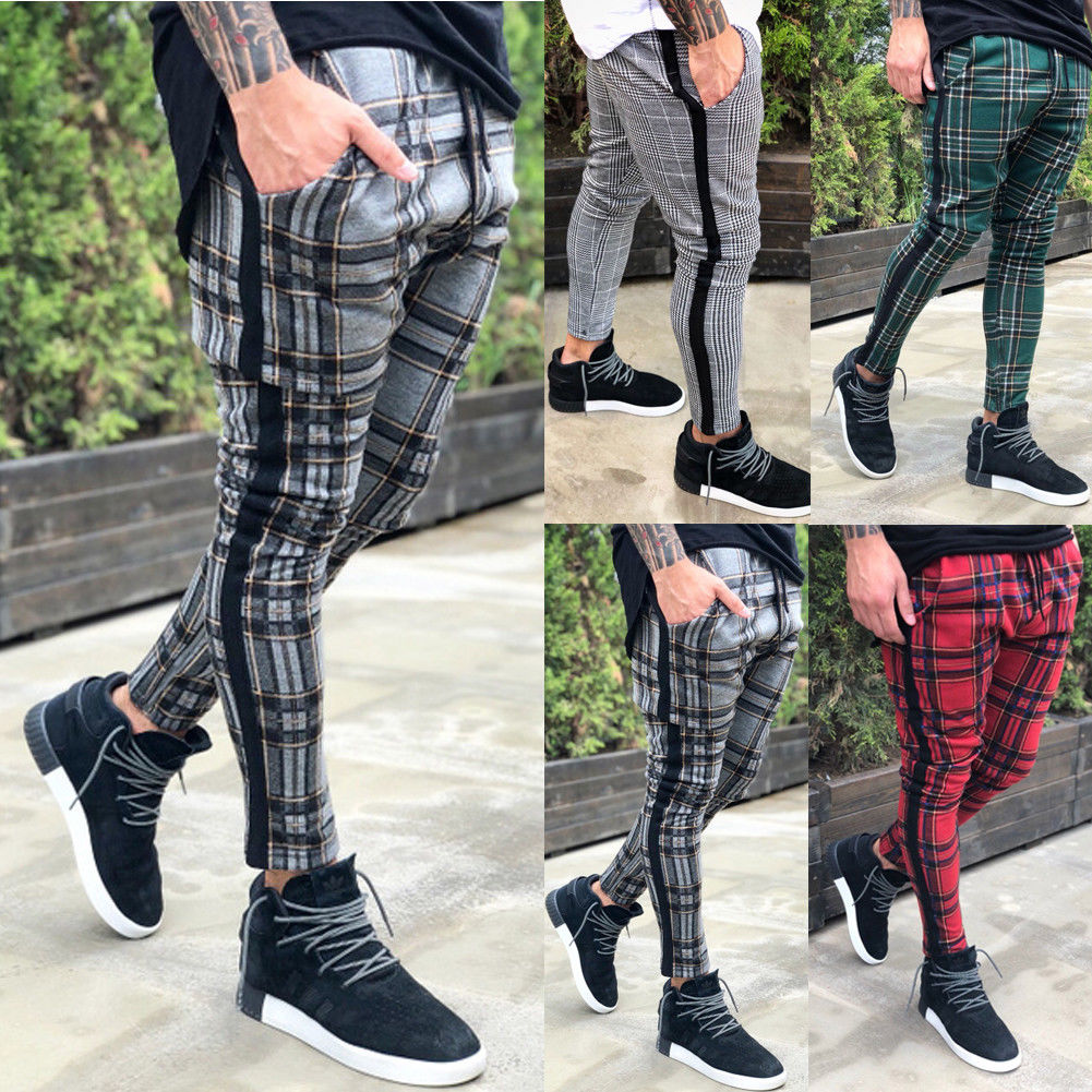 Thefound 2019 New Men's Slim Fit Urban Straight Leg Trousers Casual Pencil Cargo Pants