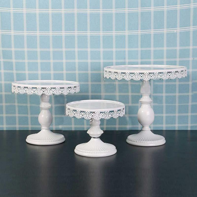 Cake Decorating Supplies Crystals Cake Stand Cupcake Tower Stand Wedding Plates Set Metal Round Party Dessert Display Decor Tray