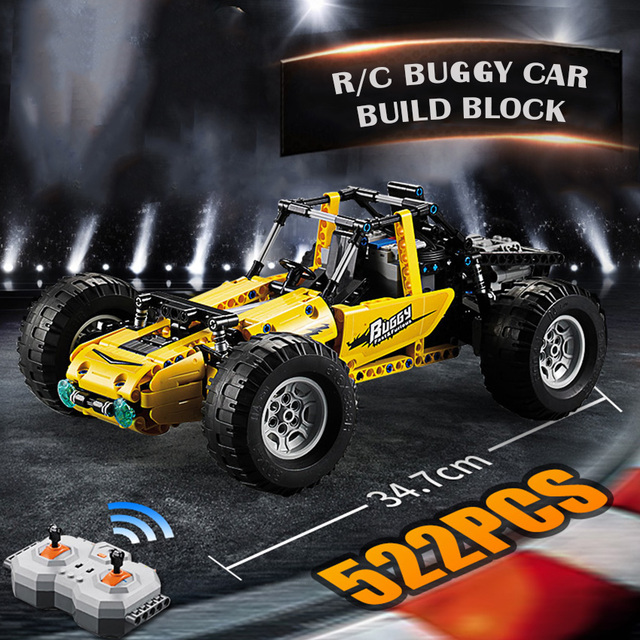 522PCS RC Buggy Car Off-road vehicle Building Block set Rubber Wheel Brick Compatible Legoes Technic Series PUBG Game Toys Gift