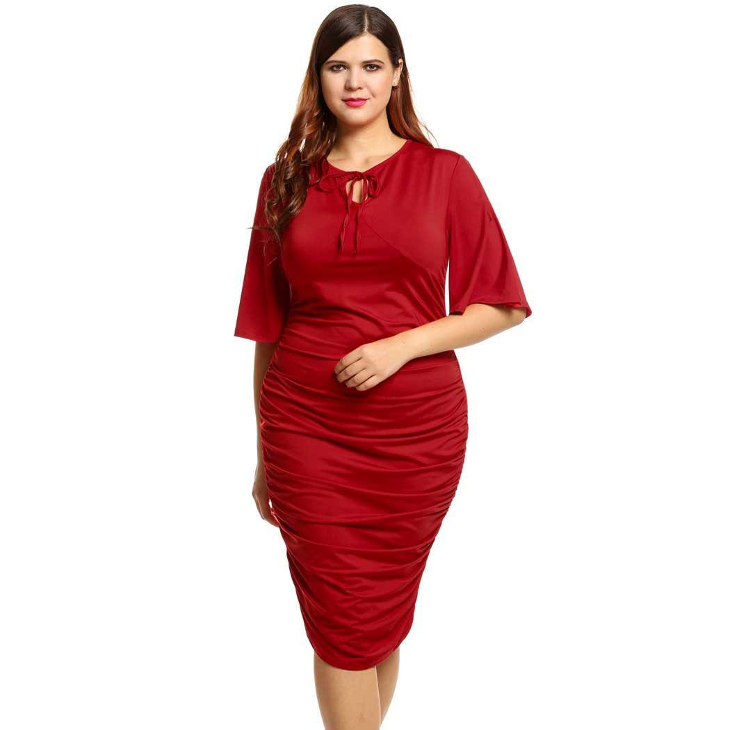 AL'OFA Plus Size   Cocktail     Dress   Women V-Neck Short Flare Sleeve Solid Plus Size Pleated Party   Dresses   Female Bodycon Vestido