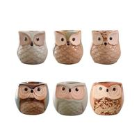Pack of 6 Mini Ceramic Owl Flower Pots Ceramic Owl Shape Small Bonsai Decor Home Decoration Flowerpots for Succulents