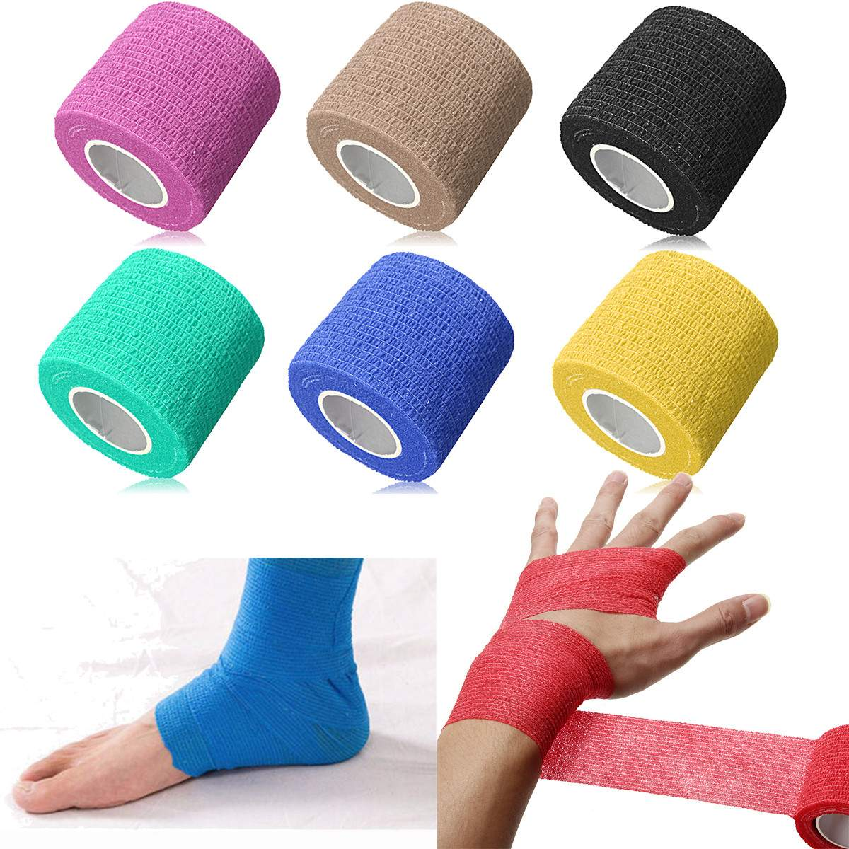 New Security Protection Waterproof Self-adhesive Cshesive Bandages Elastic Wrap First Aid Sports Body Gauze Vet Medical Tape Durable In Use Security & Protection
