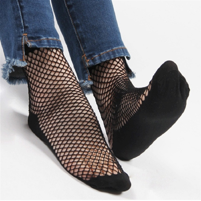 1 Pair Fashion Women Girls Black Punk Hollow Out Fishnet Socks Lace Solid Color Sexy Ankle Socks One Size Short Mesh Net Socks