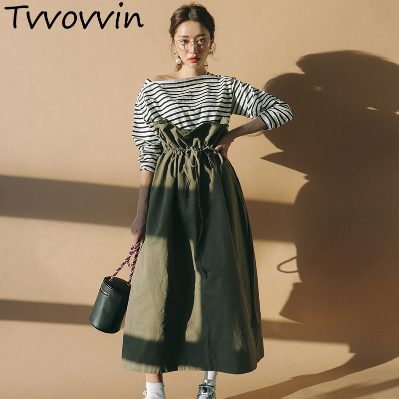 TVVOVVIN 2019 New Pattern Pure Cotton Green Wide Long Skirts Ruffles High Waist Lace up Pleated Women Korea Bottoms H1150