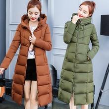 S-3XL autumn winter Women Plus size cotton Down jacket hoodie knee-length long Parkas warm Jackets Female winter coat clothes