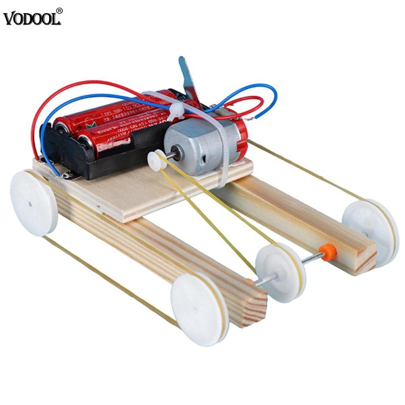 Wooden DIY Electric Pulley Four Wheel Drive Car Physic Science Assembly Model Kit Kids Educational Intelligence Teaching Gift
