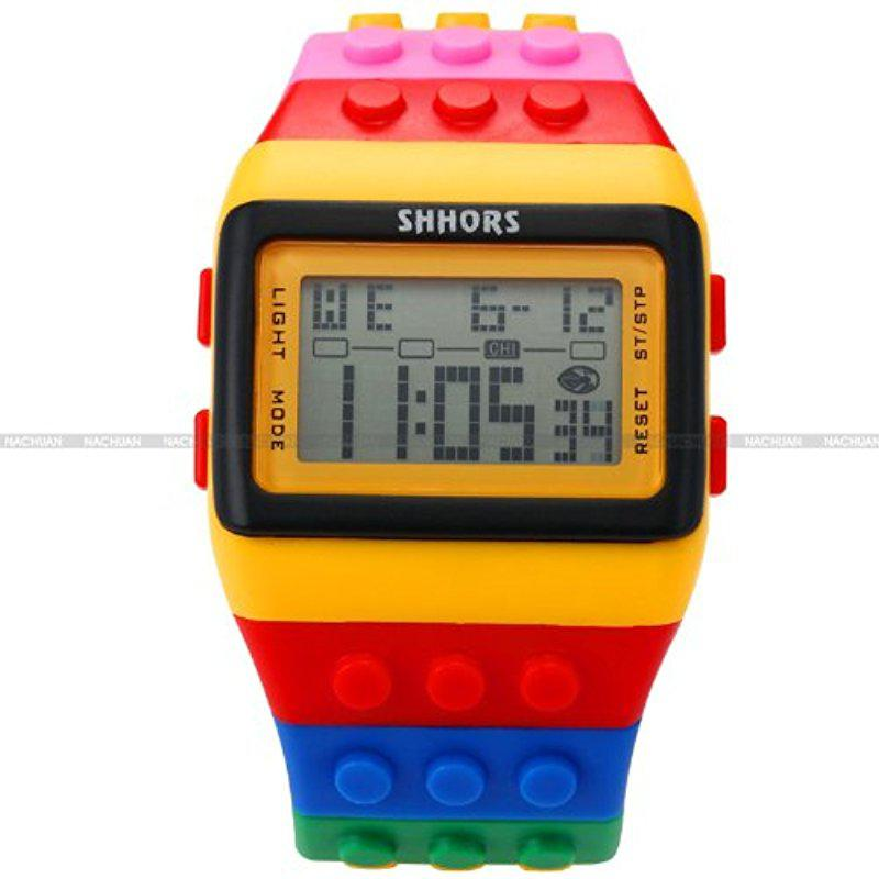 LinTimes SHHORS LCD Digital Alarm Lady Men Block Constructor Stopwatch Sport Rubber Watch LED091
