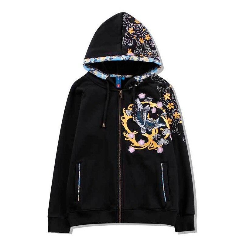 Камень Земля да Лидер продаж Новинка 2018 года синий зимний стиль одежда толстые вышитые Карп молния с капюшоном длинным принтом повседне