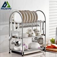 Stainless Steel 3 Tiers Kitchen Shelf 6 Hooks Set Pot Pan Hanger Deck Mount Kitchen Storage Organizer Cabinet Rack