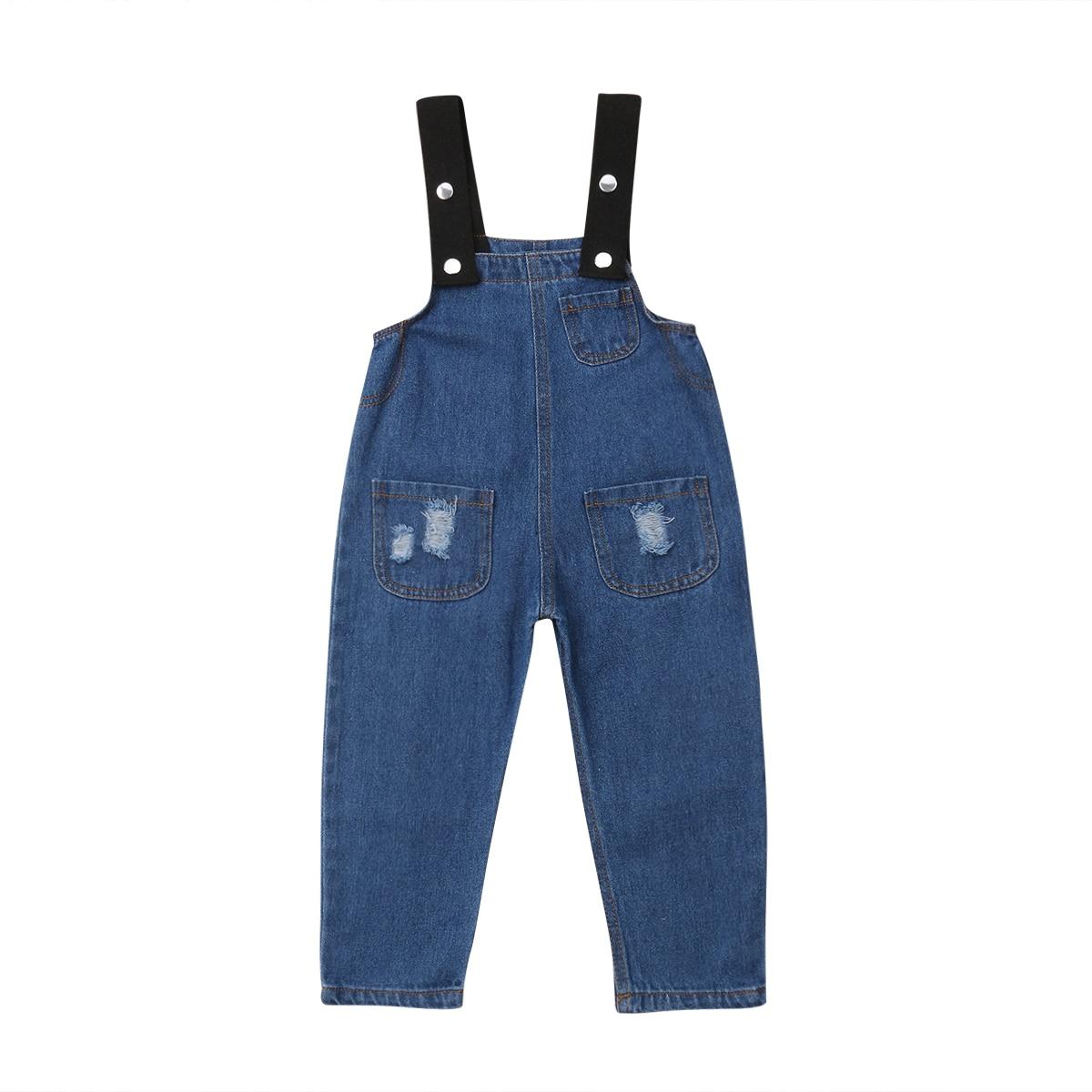 2-7y Mode Kleinkind Kinder Baby Mädchen Jungen Kausalen Overalls Hosen Blaue Taste Denim Loch Hosen Jeans Overalls