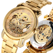 лучшая цена Men Watch Automatic Self-Wind Mechanical Clock Stainless Steel Band Gold Color Montre Homme Top Gift relogios masculino