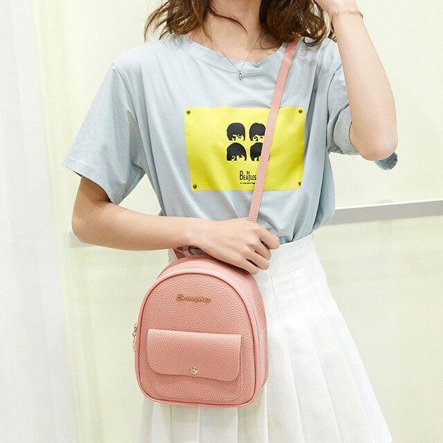 Mini Backpack Women PU Leather Shoulder Bag For Teenage Girls Kids Multi-Function Small Bagpack Female Ladies School Backpack 4