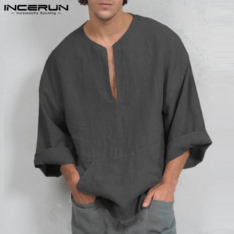 Incerun outono dos homens camisetas de manga comprida casual solto ajuste profundo decote em v camisetas masculinas túnica roupas masculinas