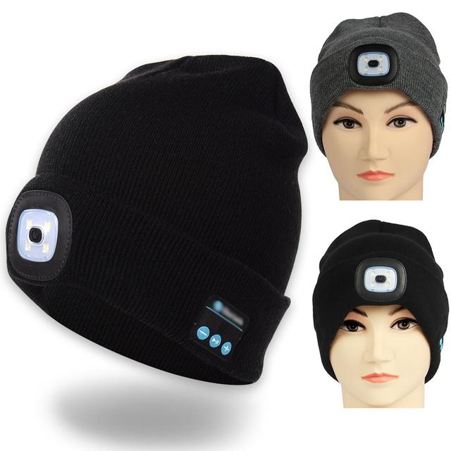 dce0586e1c3 LED Lighting Hat Bluetooth Cap with Headlight USB Rechargeable Musical  Speaker Wireless Winter Warm Knit Hat Outdoor Beanie 1108