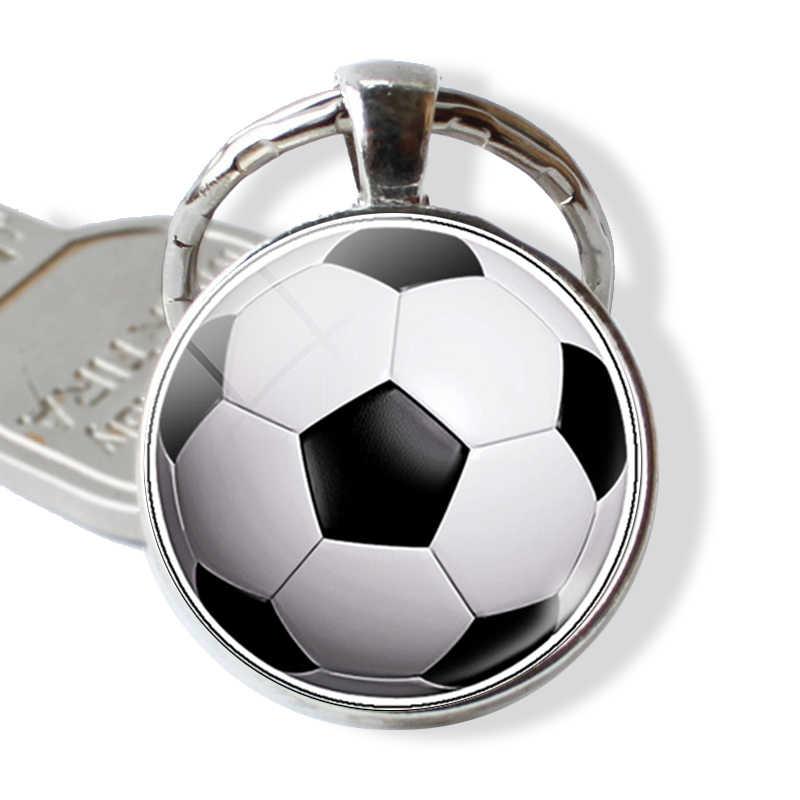 LLavero de fútbol Deporte Hombre joyería llavero Metal llavero vidrio cabujón colgante