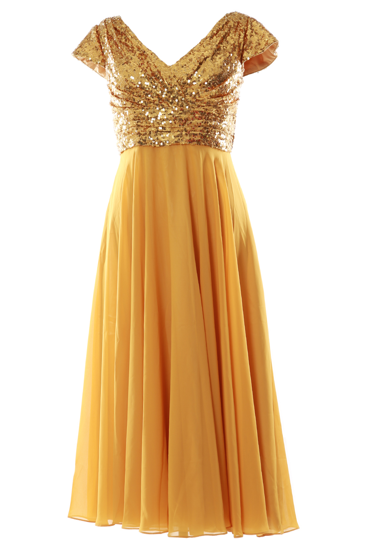 MACloth Women Cap Sleeve Tea Length Midi Pleated Sequin Chiffon Wedding Party   Bridesmaid     Dress   160281