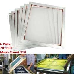 6Pcs/Set 45x50cm Aluminum Frame Silk Screen Printing Press Frame 110 White Mesh Count for High-precision Printed Circuit Boards