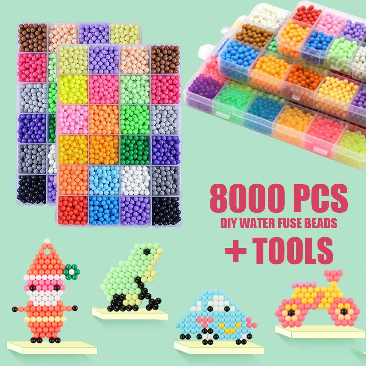 8000pcs Different Color DIY Water Sticky Fuse Beads Plastic Funny Educational Toys Kid Crafts Birthday Christmas New Year Gifts