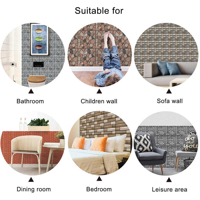 Self-adhesive 3D PVC Wall Stickers Wallpaper Living Room Bedroom Backgound Home Decoration Waterproof Deacl Ceiling plinth