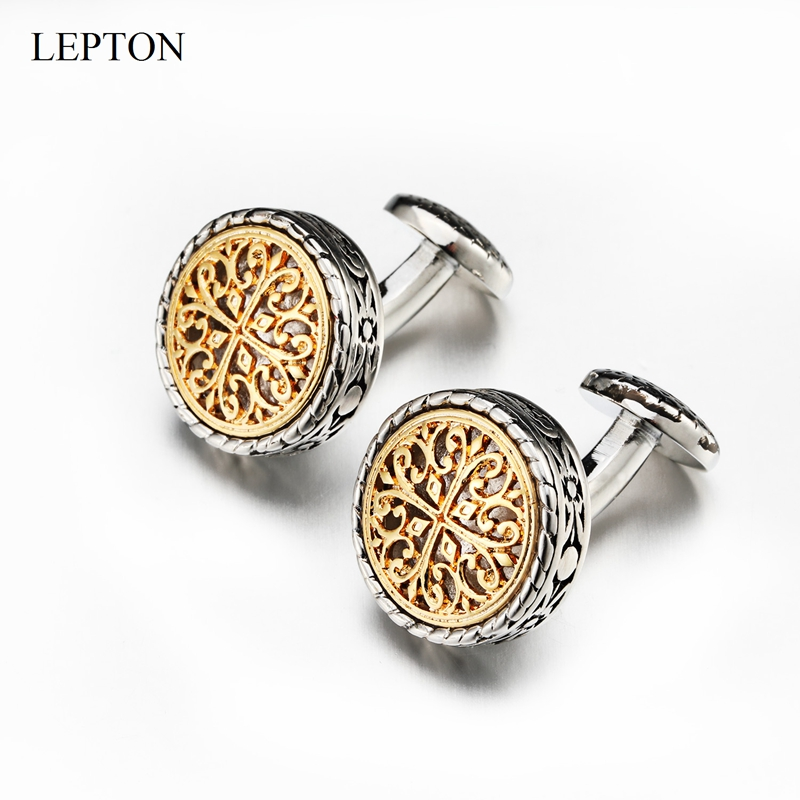 Hot Sale Vintage Cufflinks For Mens With Gift Box Gold/Silver Lepton Baroque Whale Back Closure Cuff Links For Wedding Business