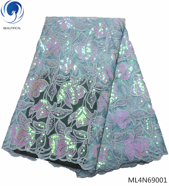 Beautifical sequin african lace fabrics 2019 high quality laces dress french sequin fabric lace for wedding 5yards/lot ML4N690