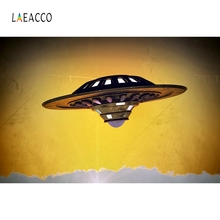 Laeacco UFO Spaceship Baby Boy Party Backdrop Photography Backgrounds Customized Photographic Backdrops For Photo Studio