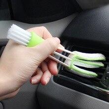 1 шт., щетка для чистки автомобиля, для автомобильного кондиционера, вентиляционная клавиатура, пылевые жалюзи, щетка для ухода за автомобилем, две головки, автомобильные аксессуары
