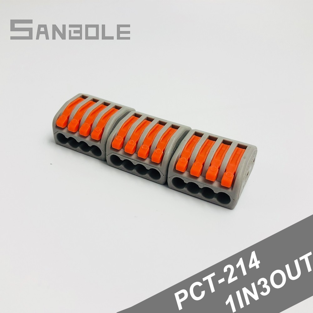 PCT-214 Fast Connection Terminal Block 222-414 Universal Compact Wire Wiring Connector 4 Pin One in Three Out (100pcs)