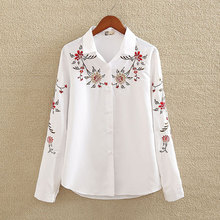 Women Flower Embroidered Shirt 2019 Spring Casual Female Lapel White Blouse Ladies Long-Sleeve Cotton Slim Tops Plus Size S-5XL