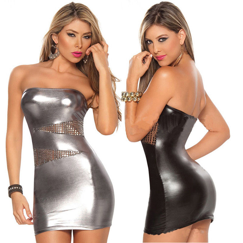 Ladies Women Leather Wet Look Hollow out Shiny Clubwear Dress Sexy Strapless New image