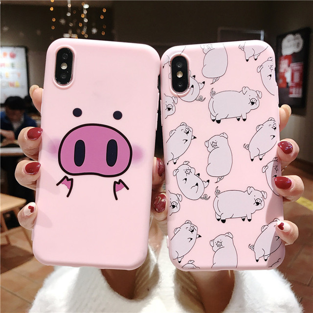 Cute Pig Phone Case For iPhone Couples Cartoon Soft TPU Silicone Back Cover 1