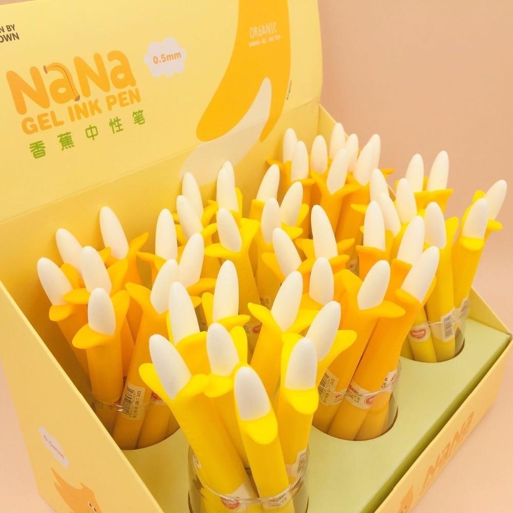 48 unids/lote pluma de Gel estilo Banana papelería creativa coreana Oficina escuela papelería firma pluma-in Bolígrafos de bandera from Suministros de oficina y escuela    3