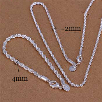 kiteal wholesale silver plated jewelry sets 925 charms 16 18 20 22 24 inch necklace bracelet fashion Twisted rope Line chain