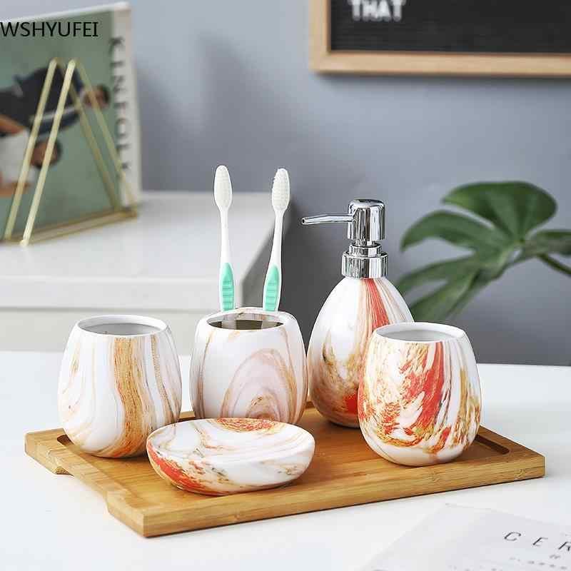 Akcesoria do przechowywania w łazience toalety garnitur marmuru ceramika pięć wc toalety kubek gospodarstwa domowego uchwyt na szczoteczkę do zębów chastity