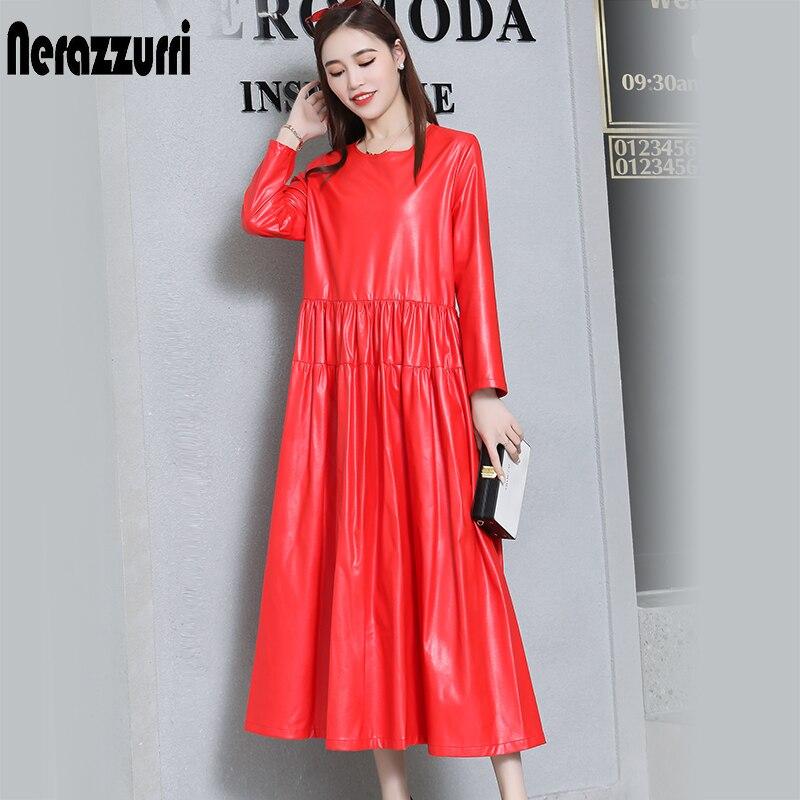 Nerazzurrri pu cuir robe femmes rouge gris noir robe de grande taille 5xl 6xl 7xl manches longues élégante plissée maxi robe automne 2019 - 3