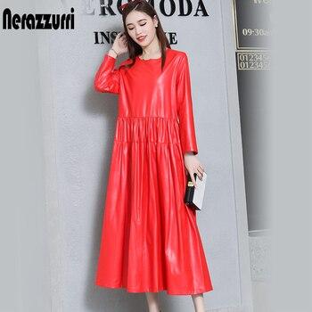 nerazzurrri pu leather dress women red gray black plus size dress 5xl 6xl 7xl long sleeve elegant pleated maxi dress fall 2019 4