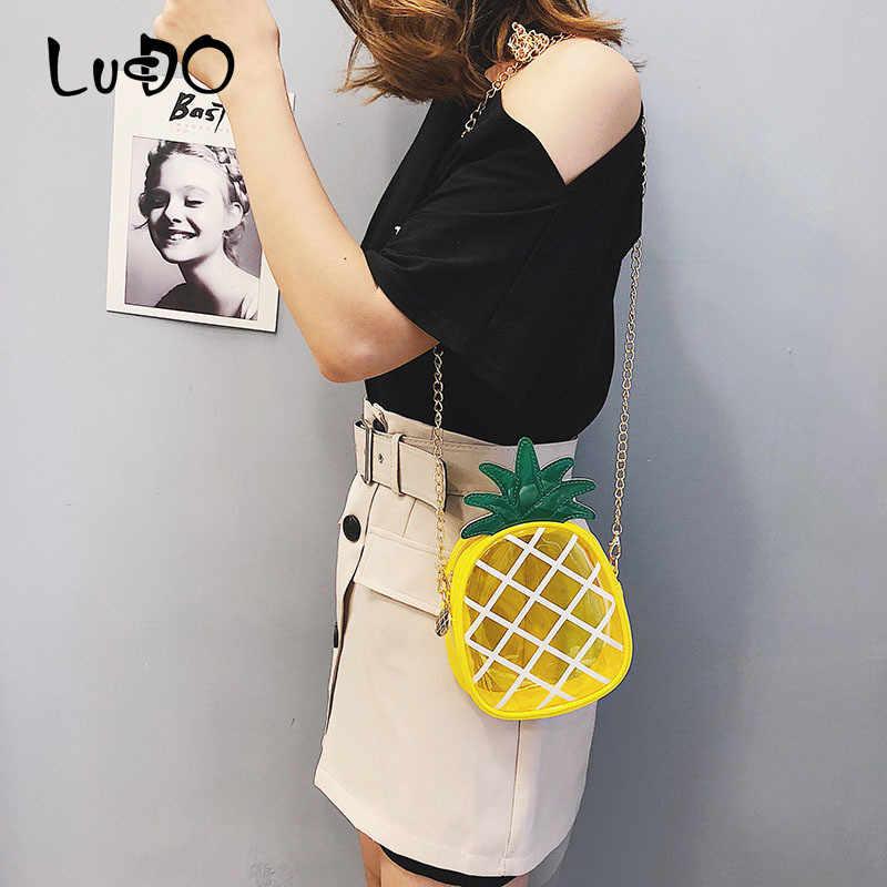Lucdo Fashion Jelly Transparan Nanas Wanita Tas Kurir Mini Indah Lucu Tas Bahu Wanita Kecil Crossbody Tas Tas Tangan