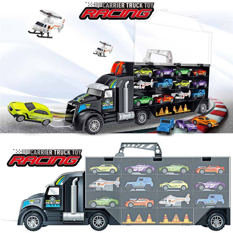 Image 2 - 16Pcs/Set Transport Car Carrier Truck Boys Toy (include Alloy 10 cars &2 Helicopters &2 Roadblocks & City Map ) For Kid Children-in Diecasts & Toy Vehicles from Toys & Hobbies