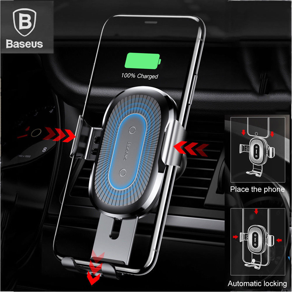 Baseus Qi Wireless Automatic Clamping Fast Car Charger Pad Car Holder Stand Anti-shock Charge Mount Qi Wireless Charger